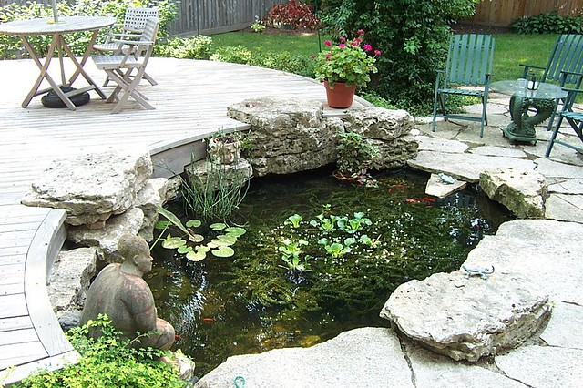 Koi pond in middle of deck and patio flickr photo sharing for Koi pond deck