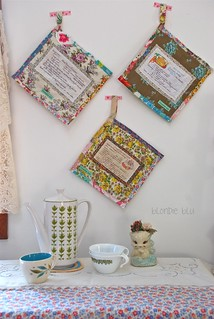 vintage recipe potholders