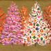 Orange, Pink & White Trees on gold 1965 by franceseattle