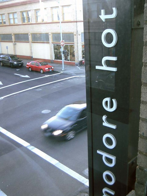 View of Commodore Sign