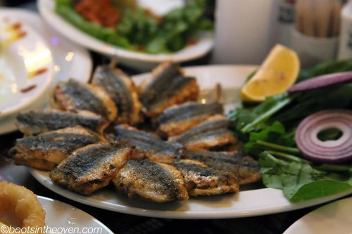Panfried Sardines, stuffed with onions and greens