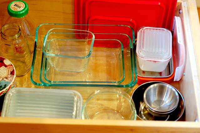 """Inside of my """"tupperware"""" drawer post plastic-removal by Eve Fox, Garden of Eating blog, copyright 2011"""