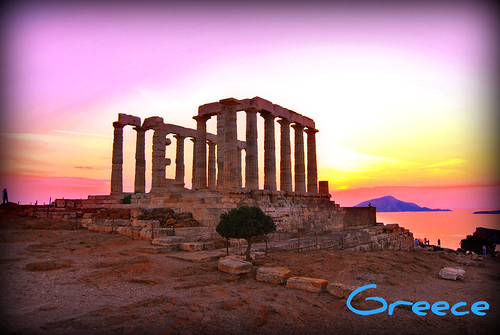 Sunset in Sounio, Greece