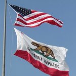 US National Flag and California State Flag, City Hall, Santa Monica