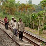 Bangladeshi Men Walking Along Railroad Tracks - Rural Bangladesh