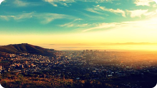 africa city morning light mountain love sunshine sunrise landscape rainbow cityscape shine capetown tones signalhill