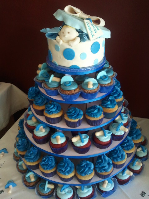 Baby shower cupcake tower Flickr - Photo Sharing!
