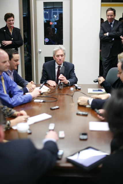 Actor Michael Douglas Is Interviewed By Members of State Department Press ...