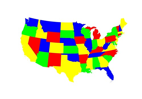 4-color map of the contiguous United States