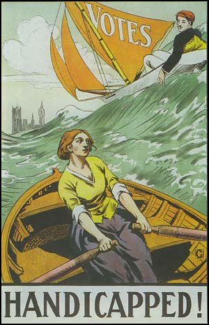white woman rowing a boat while a white man breezes past her in a sailboat