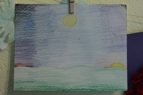 three phases of the sun- crayon