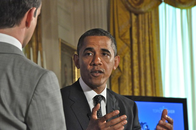 President Barack Obama Speaks and Gestures with His Hands