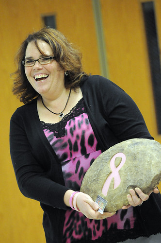 Heidi at Breast Cancer awarness Volleyball game
