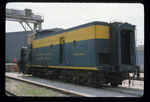 6243998237 c1b6230cb5 ATSF 199361; Rotary Snow Plow; Built AT&SF 11/59 from ex locomotive tender 3769 and rotary plow 199398; Only remianing rotary plow on the Santa Fe; Work Car; July 1982