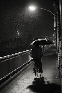 brolly, bridge, and bicycle