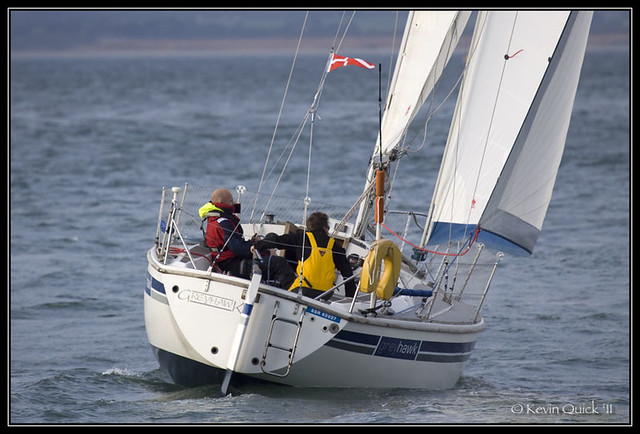 A Westerly GK29 yacht sailing off Cowes, Isle of Wight, UK