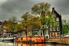 Typical Amsterdam scene on a gorgeous cloudy day