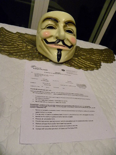 Anonymous pays keen attention to Occupy Vancouver Order (Pursuant to Vancouver fire by-law no. 8191)