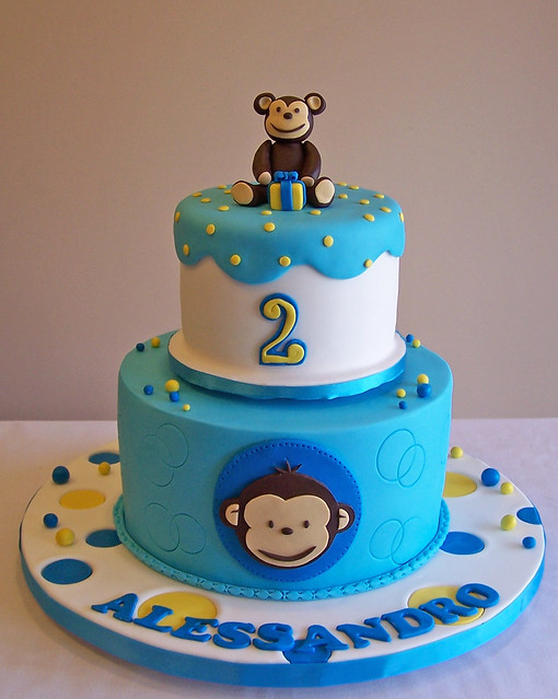 Monkey Cake Design Easy : Mod Monkey cake I made these cakes for two siblings who ...