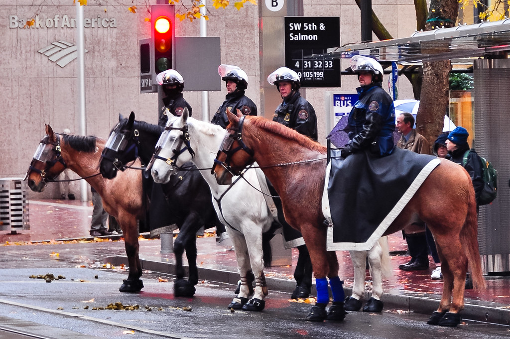 Mounted police stand by a Bank of America as protesters sh