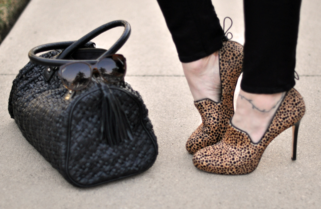animal print shoes and bag