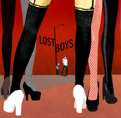 Poster showing women's legs and men standing under a streetlight. Text reads LOST BOYS