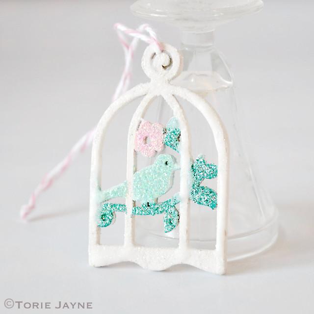 Mini glittered bird cages