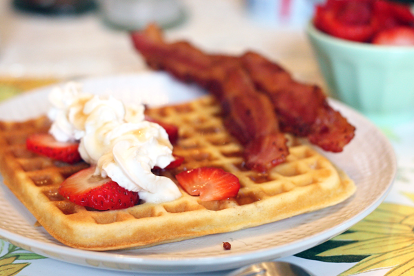 Homemade Waffles and Bacon