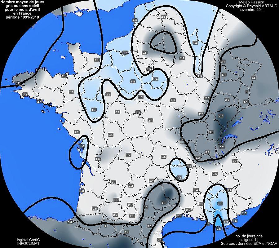 nombre moyen mensuel de jours gris ou sans soleil pour le mois d'avril en France