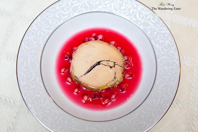 Foie gras torchon with pomegranate and cocoa