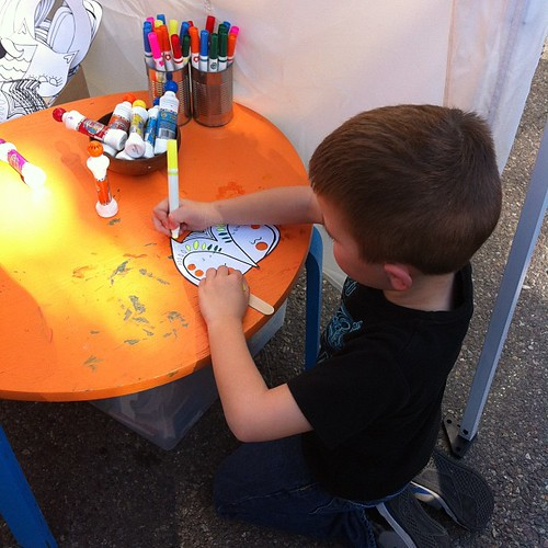 Project 365 330/365: Angry Kid making an owl mask at @Patchworkshow today.