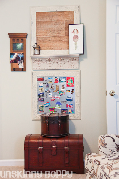 diy corkboard using sheet vinyl and metal magnet board