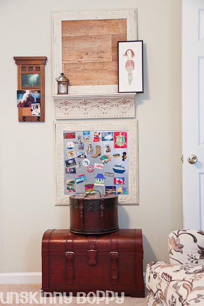diy corkboard using sheet vinyl and metal magnet board