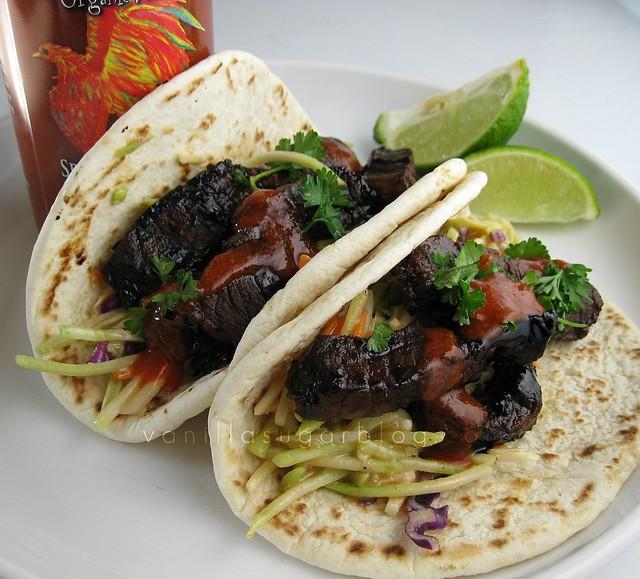 beef teriyaki tacos ginger-miso slaw
