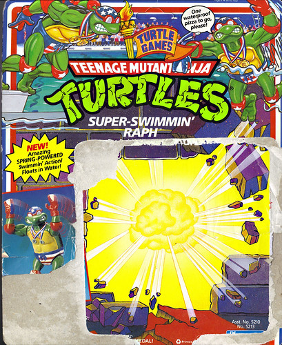 """TURTLE GAMES"" TEENAGE MUTANT NINJA TURTLES :: SUPER-SWIMMIN' RAPH .. card backer i (( 1992 ))"