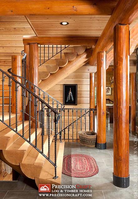Log Home Custom Staircase   PrecisionCraft Log Homes