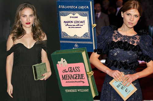 Olympia Le-Tan book clutches on the red carpet - carried by Natalie Portman and Clémence Poésy