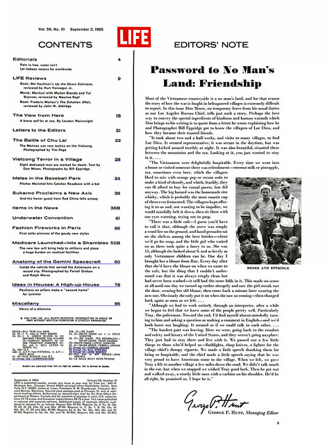 LIFE Magazine September 3, 1965 (1) - EDITORS' NOTE --  Password to No Man's Land: Friendship