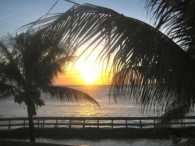 sunset in west bay roatan honduras bay islands