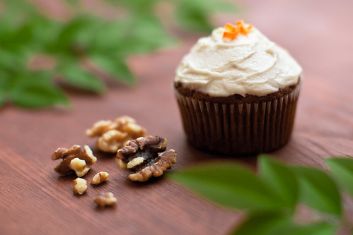 Carrot-cake Cupcakes with Ginger Cream Cheese Frosting.