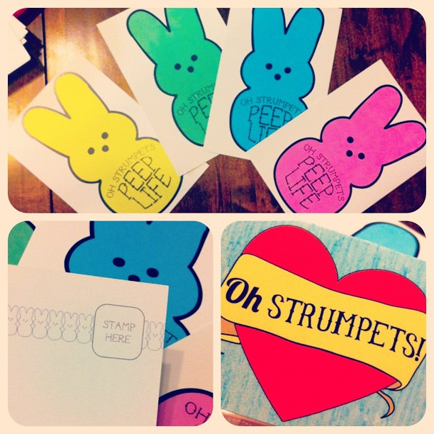 All Oh Strumpets orders for the next 4 days will come with 4 free Peep Life postcards  perfect to tell your buds happy spring! #ohstrumpets #peeplife #spring #free