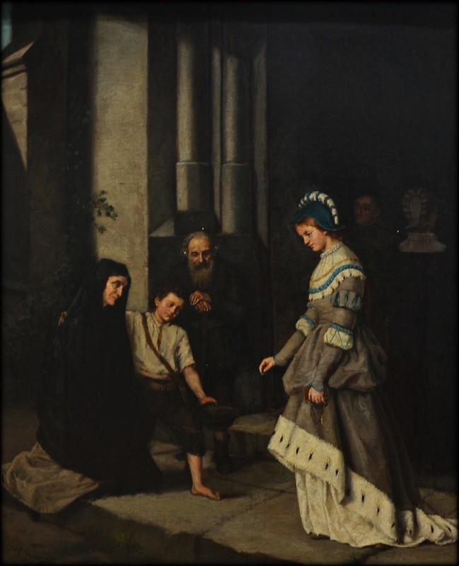 Ignacio Merino: Dama dando limosna a mendigo.