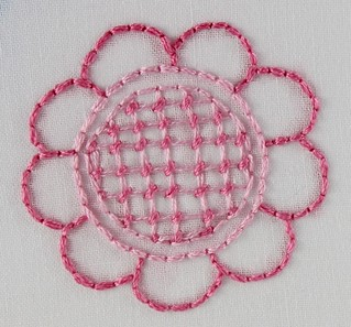 100 stitches - #70 trellis couching stitch