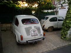 fiat 500(0.0), automobile(1.0), automotive exterior(1.0), vehicle(1.0), fiat 600(1.0), city car(1.0), zastava 750(1.0), antique car(1.0), land vehicle(1.0),