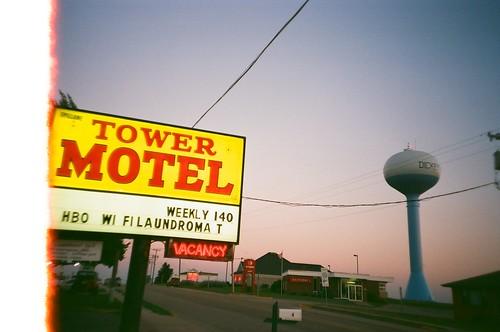 sunset summer film analog 35mm evening lomo lomography watertower july lomolca wires vacancy fujisuperia200 2011 dickeyvillewisconsin towermotel roadtrip2011