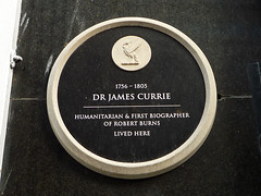 Photo of James Currie black plaque