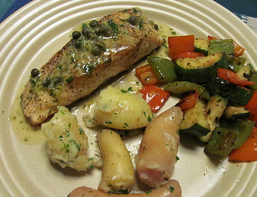 Salmon with caper sauce