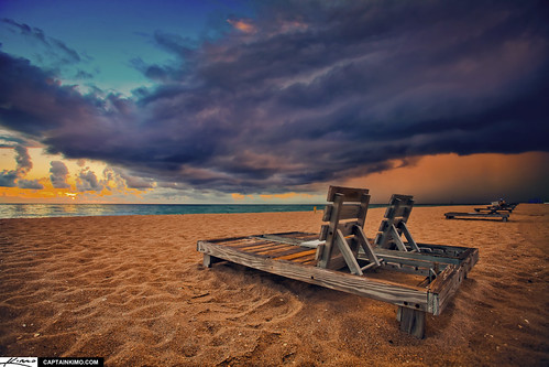 Singer Island Beach Chairs Sunrise with Storm Clouds