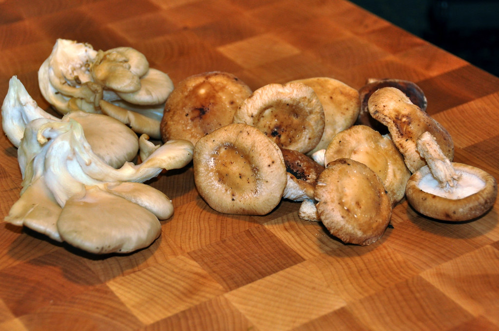 Shiitake and Oyster Mushrooms