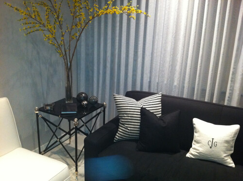 cjinteriors posted a photo:	I used this throw pillow in a black & white themed room and changed the insert out to down to give it a softer look.  Also added yellow which looks great as a pop of color.  Cost only $12.99!